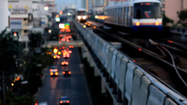 electric train and traffic at bangkok - transport conductor stock videos & royalty-free footage