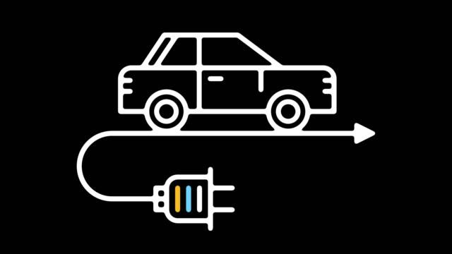 vídeos y material grabado en eventos de stock de animación de icono de línea de vehículos eléctricos con alfa - coche híbrido