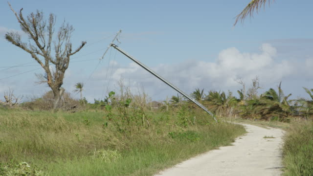 Vanuatu - March 28, 2015: Electrical pylon bent over at side of road