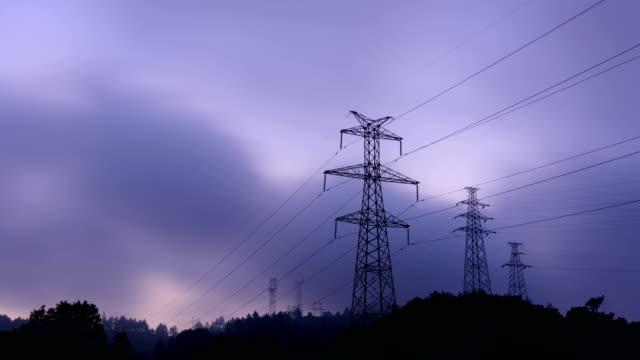 Electrical Pylons at sunrise 4K Video