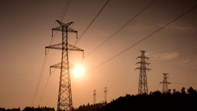 Electrical Pylons translation at sunrise 4K Video