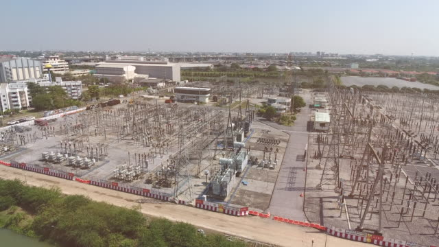 electrical substation, aerial view - electricity pylon stock videos and b-roll footage