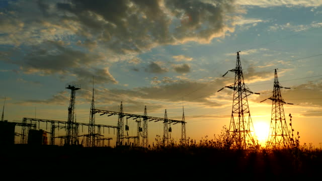 Electrical substation at sunset