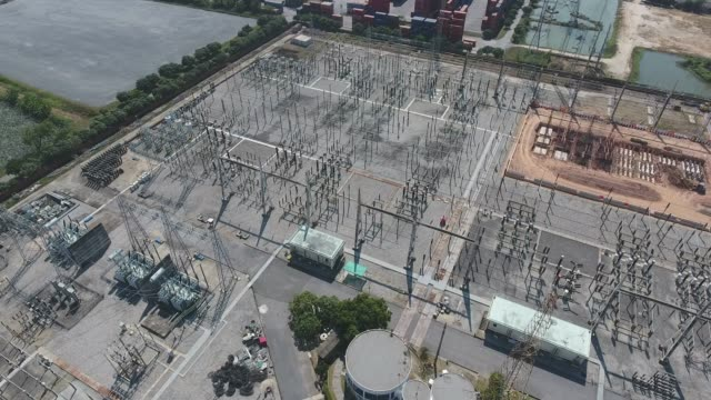 electrical substation, high voltage electricity station, aerial view - transformer stock videos & royalty-free footage