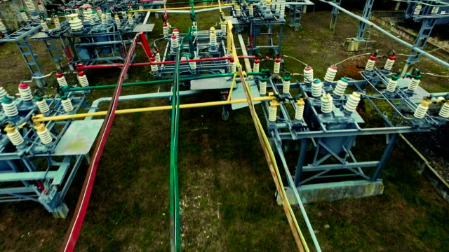 Electrical substation. Industrial background