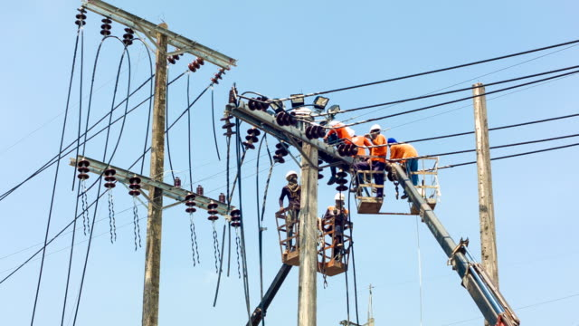 electrician fixing electrical line - power cable stock videos & royalty-free footage