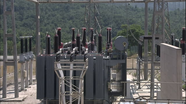 electricity generating equipment is located in the substation of an italian geothermal power plant - power equipment stock videos & royalty-free footage