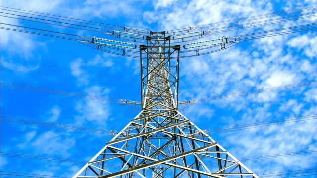電力高電圧パワーパイロンアゲインストブルースカイ - power line点の映像素材/bロール