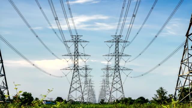 electricity pylon high voltage power - stromnetz stock-videos und b-roll-filmmaterial