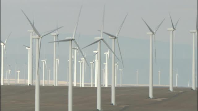 electricity is generated as rotors turn on wind turbines in oregon's klondike wind farm . - klondike stock videos and b-roll footage