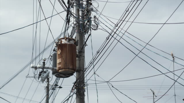 ms la electricity pole against clear sky, kyoto, japan - ワイヤー点の映像素材/bロール