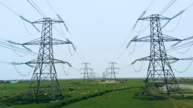 electricity power lines and pylons - 40 seconds or greater stock videos & royalty-free footage