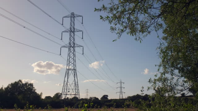 electricity power pylons - electricity pylon stock videos & royalty-free footage