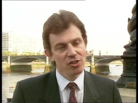 stockvideo's en b-roll-footage met lords defeat electricity privatisation lords defeat ext cms tony blair mp intvw sof cms john draper i/c sof nat - tony blair