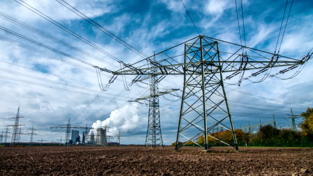 STEADY CAM: Electricity pylon and power station