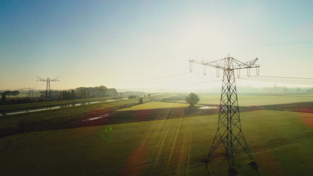 electricity pylon - power cable stock videos & royalty-free footage