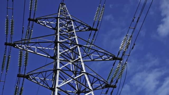 vídeos de stock e filmes b-roll de electricity pylon - cabo de alta tensão