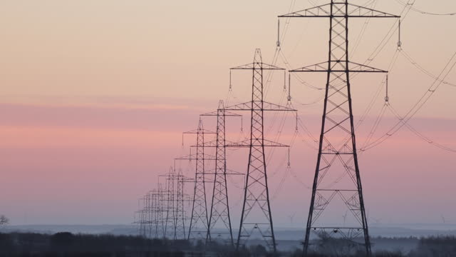 Electricity Pylons at Dawn, Glapwell, Derbyshire, England, UK, Europe