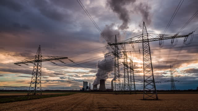 electricity pylons - crane shot - crane shot stock videos & royalty-free footage