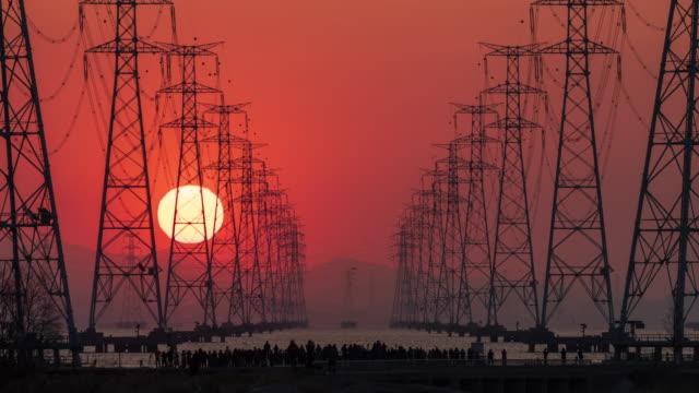 electricity pylons in sihwaho lake at sunrise / ansan-si, gyeonggi-do, south korea - construction frame stock videos & royalty-free footage