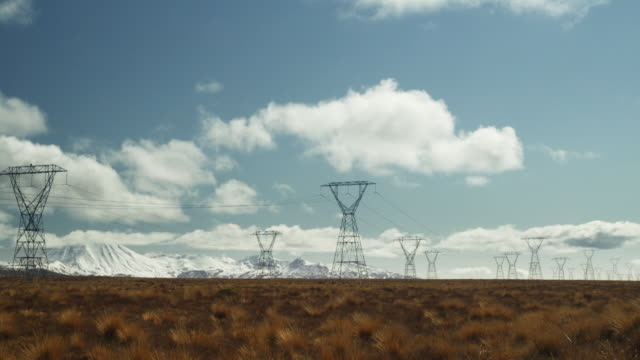 t/l, ws, electricity pylons on field, mount ruapehu in distance, tongariro national park, north island, new zealand - tongariro national park stock videos & royalty-free footage