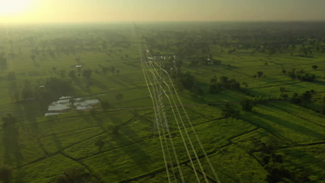 electricity pylons with sunrise dolly right - high voltage stock videos & royalty-free footage