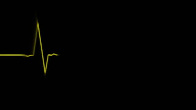 electrocardiogram on black background loop - microscopio elettronico a scansione video stock e b–roll
