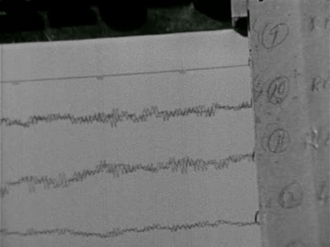 Electroencephalogram printing brain wave record on paper MS Two scientists talking while watching three scientists standing at machine male adjusting...