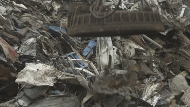 Electromagnet at a scrap yard