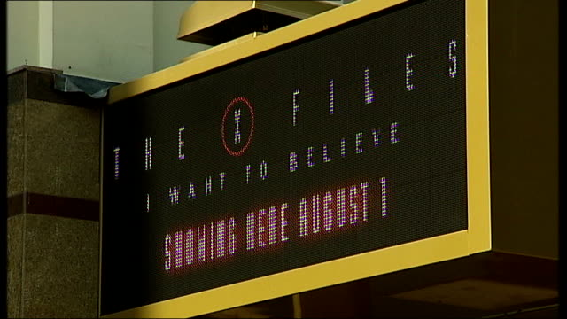 ext electronic sign outside cinema advertising upcoming the x files film 'kung fu panda' film advertisement at cinema entrance close up sign reading... - the x files stock videos & royalty-free footage