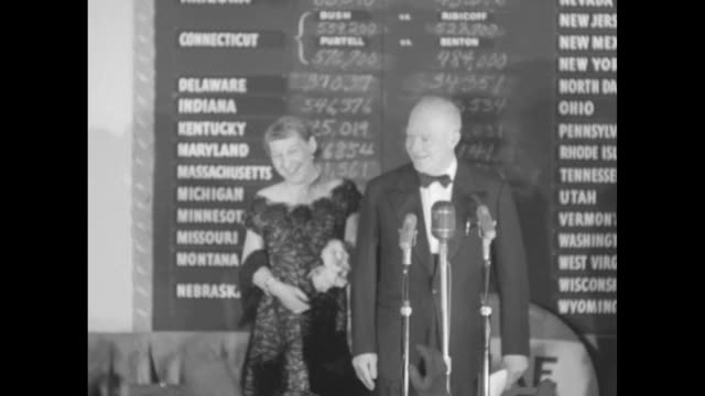 electronic sign shows election results on exterior hotel / interior democratic party chairman stephen mitchell steps up to podium marked the... - 1952 stock videos and b-roll footage