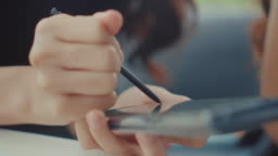Electronic signature on smart phone,Close-up