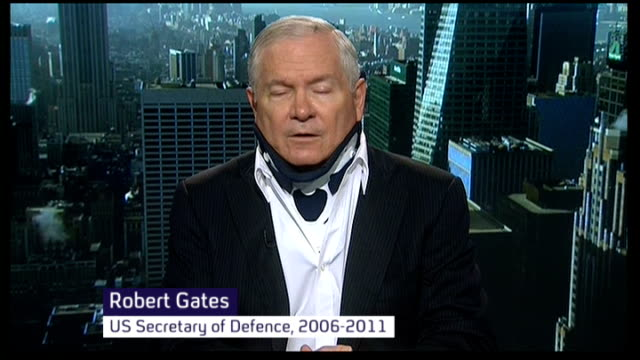 electronic surveillance: barack obama pledges to restrict nsa activity; england: london: gir: int robert gates studio interview from usa sot - national security agency usa stock videos & royalty-free footage