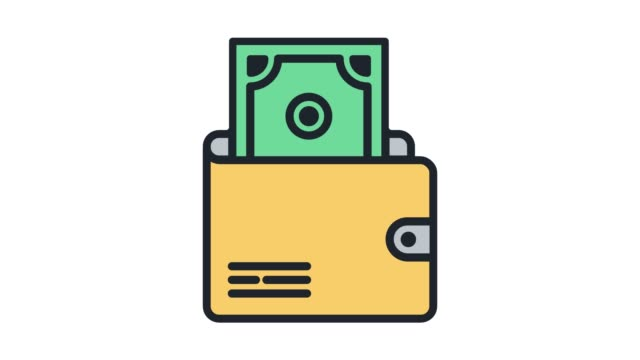 electronic transaction wallet line icon animation with alpha - fee stock videos and b-roll footage