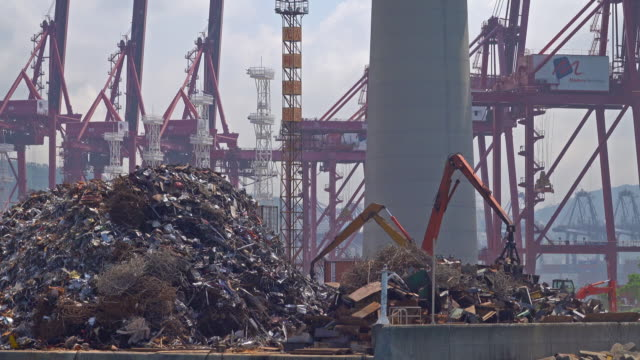 electronic waste transfer and others at the shipping port - rubbish dump stock videos & royalty-free footage