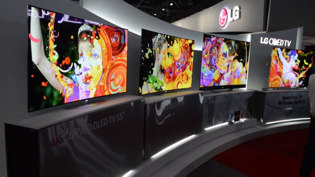 LG Electronics Inc Ultra High Definition 4K screens displayed at the 2014 Consumer Electronics Show in Las Vegas Nevada US on Tuesday Jan 7 Close up...