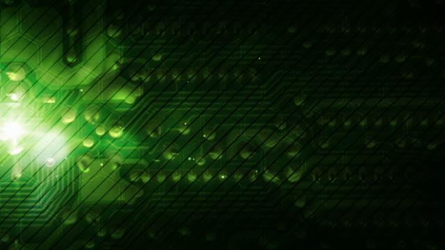 vídeos de stock, filmes e b-roll de eletrônicos tech fundo loop-verde (full hd - flutuando no ar