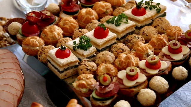 elegant appetizer - tray stock videos and b-roll footage