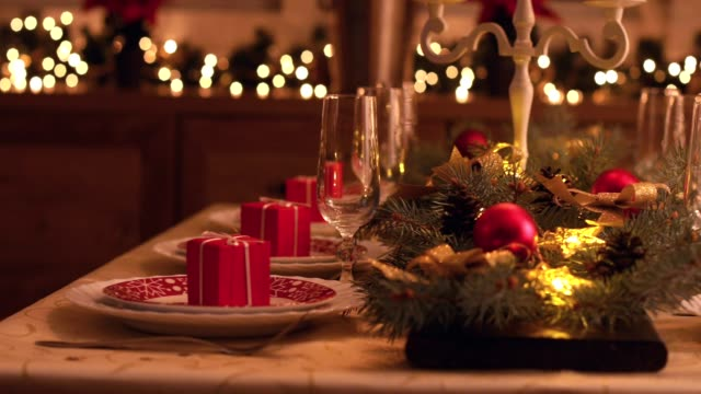 elegant christmas dining table - christmas gift stock videos & royalty-free footage