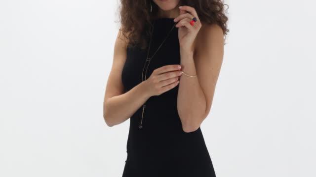 elegant designer jewelry in berlin - black dress stock videos & royalty-free footage