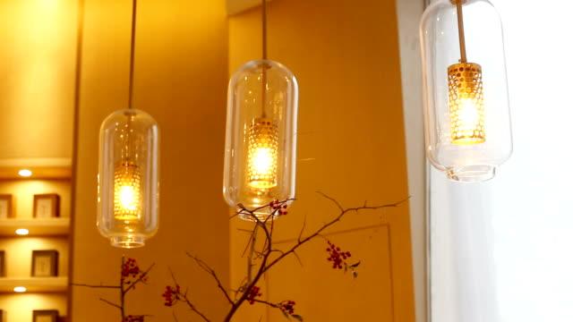 elegant japanese style droplight on ceiling in room