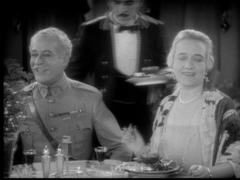 cu, b&w, elegant people having dinner, 1920's  - stereotypically upper class stock videos & royalty-free footage