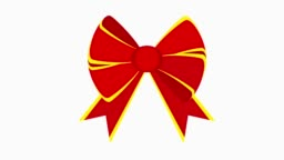 Elegant red bows from a wide ribbon.