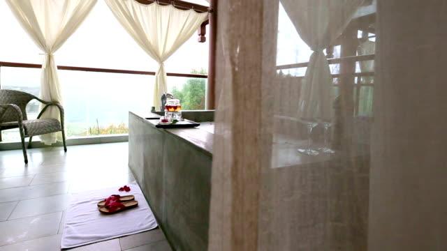 elegant slipper on floor in modern bathroom with spa bathtub