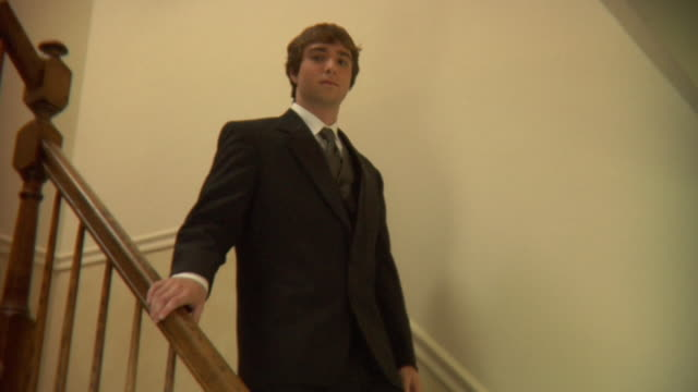 ms, elegant teenage boy (16-17) descending stairs at home, portrait, edison, new jersey, usa - one teenage boy only stock videos & royalty-free footage