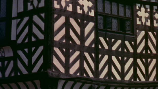 1957 montage elegant tudor homes / united kingdom - laubbaum stock-videos und b-roll-filmmaterial