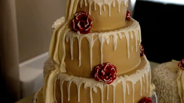 elegant wedding cake with flowers - ornate stock videos and b-roll footage