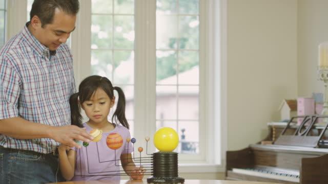 Elementära äldre systrar lärande astronomi med sin far medan hem skolgång