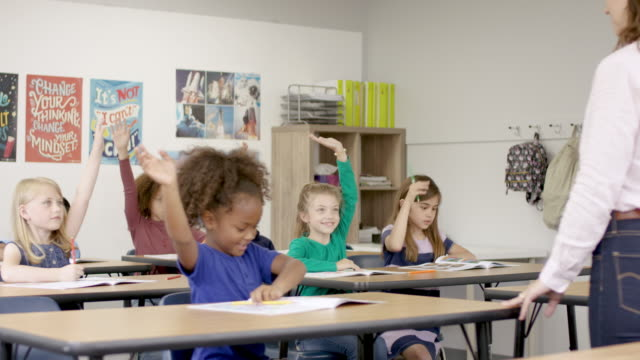 elementary children answering questions - back to school stock videos & royalty-free footage