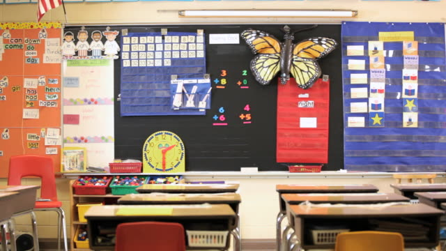 ms pan elementary classroom in school / richmond, virginia, united states  - school bulletin board stock videos and b-roll footage